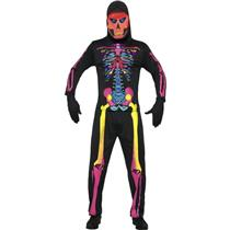 Neon Skeleton Bones Mens Costume Size XL