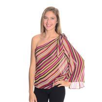 M Allen B Pink Green Striped One Shoulder Sheer Flutter Sleeve Blouse 7X18D43