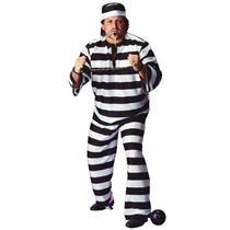 Convict Man Plus Size Adult Full Figure Costume