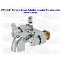 Chrome Clawfoot Tub Add-A-Shower Bathcock Diverter Faucet With Shower Hose Adapter