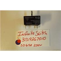 AMANA  STOVE 31319267010  Infinite Switch 5.3-6.4a  250v USED PART