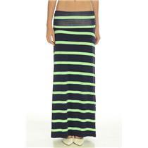 New! S HIHO Caribbean Wear Navy Green Stripe Jersey  Maxi Skirt Foldover Waist