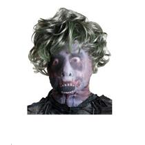 Adult Fabric Zombie Male Mask with Attached Wig