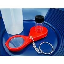 "10"" Blue Gold Pan-Snuffer Bottle-Glass Vial-Magnifying Glass-Panning Kit Mining"