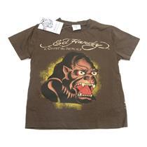 Size 3/4 NWT Ed Hardy Kids Boys Dark Brown Ape Gorilla Short Sleeve T Shirt