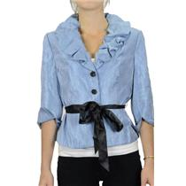 8 NWT Adrianna Papell Baby Blue Shine Ruffle Bubble Collar Belted Evening Blouse