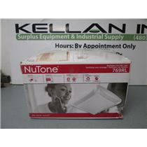 NuTone 769RL Ceiling Exhaust Fan with Light, 70 CFM White Grille and Bulb.