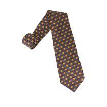 "56"" Robert Talbott Studio Red Gold Brown Square Print 100% Silk Neck Tie"