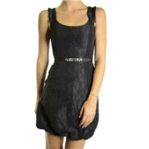 8 NWT Max & Cleo Textured Taffeta Bubble Hem Jewel/Crystal Belted Dress Black
