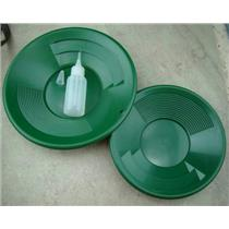 "Lot of 2 Green Double Riffle Gold Pans 1-8"" & 1-10"" w/Bottle Snuffer-Panning Kit"