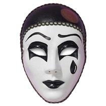 Black and Off White Sad Face Pierrot Clown Pantomime Mask