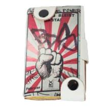 NWT Neves Fight Power Political Poster Pattern Snap Wallet Leather Red/White