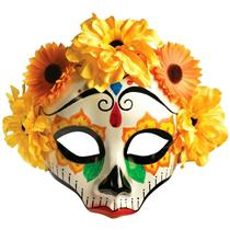 Forum Novelties Women's Day Of Dead Yellow Orange Flower Skull Half Face Mask