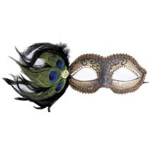 Bronze Cipriani Venetian Masquerade Eye Mask with Feathers Rhinestones and Jewel