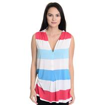 Sz S Ella Moss Red/White/ Blue Striped Sleeveless Button Up Thin Jersey Knit Top