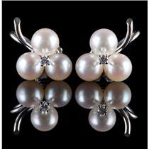 "Vintage 1950's 14k White Gold ""AAA"" Pearl & Diamond Cluster Clip On Earrings"