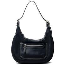 Coach Black Leather Shoulder Bag w/Adjustable Strap Canvas Logo Lining 4464