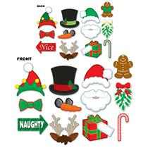 Christmas Party Photo Photobooth Fun Signs Cut Outs 2 Sided With 4 Wooden Dowels