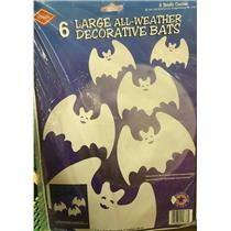6 Large All Weather Decorative White Bats Indoor Outdoor Halloween Decoration