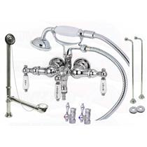 Chrome Stub Pattern Clawfoot Tub Faucet Filler & Hand Shower Kit