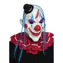 Red White and Blue Horror Clown Adult Mask with Hair