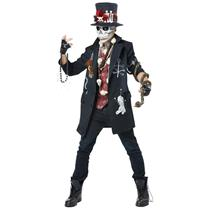 Voodoo Dude Mens Scary Skeleton Skull Adult Costume Medium 40-42