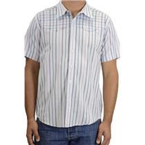 L 7 Diamonds Blue Check Stripe Casual Button Front Short Sleeve Western Shirt