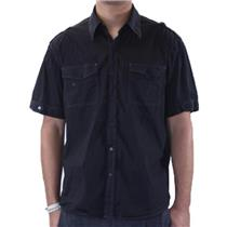 NWT 7 Diamonds Black Casual Gretchen Rose Crest Button Down Short Sleeve Shirt