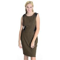 New! Anthropologie Weston Tan/Black Isela Sleeveless Dress Vegan Leather 41439