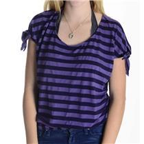 S Ella Moss Purple & Navy Bold Striped Short Sleeve Cotton Tencel Top ETWW12505