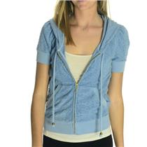 M Juicy Couture Shaded Blue Burton Jacquard Terry Puffed Short Sleeve Hoodie LN
