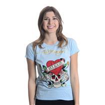S Authentic Ed Hardy Blue Love Kills Skull Heart Logo Crystal Short Sleeve Tee