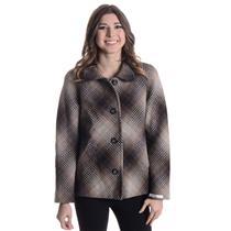 S NEW Pendleton Gray/Brown/Cream Square Knit Plaid Virgin Lambs Wool Pea Coat