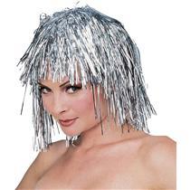 Short Silver Tinsel Party Wig