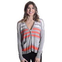 S C&C California Gray/Orange/White Striped Button Front Cotton/Cashmere Cardigan