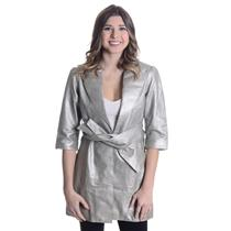 L NWT Janet Metallic Silver Leather 3/4 Sleeve Light Trench Coat Jacket Belt