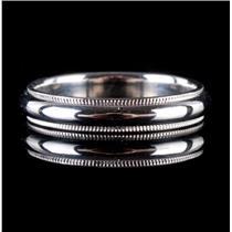 Platinum Milgrain Style Wedding Band / Ring 6.5g Size 8