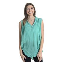 New P/S Jen's Pirate Booty Evita 100% Cotton Gauze Collared Tunic in Turquoise