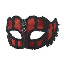 Womens Red and Black Lace Rhinestone Venetian Half Mask with Sunglass Arms