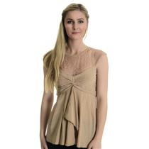 Sz 4 BCBGMAXAZRIA Women's Draped Lacy Silk Pleated Twist Cap Sleeeve Top In Nude