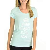 NWT HIHO Caribbean Wear Keep Calm And Sail On Graffiti Graphic T-Shirt Turquoise
