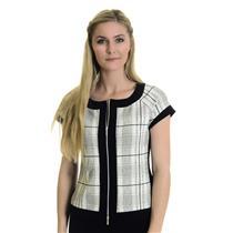 8 NWT Joseph Ribkoff White/Black Window Pane Check Short Sleeve Zip Front Jacket