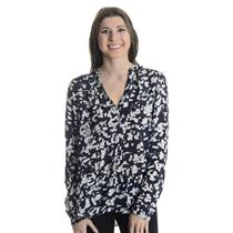 6 Vince Coastal Off White Silk V-Neck Long Sleeve Confetti Print Popover Blouse