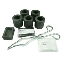 Gold & Silver Melting Kit - 5 Crucibles, Tongs, 5oz Mold, Chapman Flux, Borax