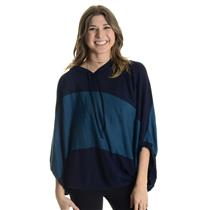 Size S Current Affair Navy & Teal Wide Striped Soft Hooded Dolman Sleeve Sweater
