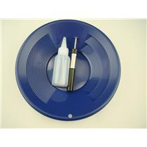 """1- 10"""" Blue Gold Pan 1- 5"""" Bottle Snuffer 1-Pocket Magnet Pick up tool"""