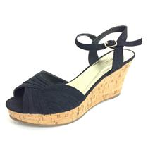 8 Nine West Black 'IMLOVINILI' Peep Toe Cork Platform Sandals Buckle at Ankle