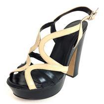"8.5 Vince Camuto Black/Nude Leather ""Deco"" Strappy Platform Block Heel Sandals"