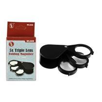 "15x (5x, 5x, 5x) 1-1/4"" Triple Lens Folding Pocket Magnifier, Loupe, Nugget"