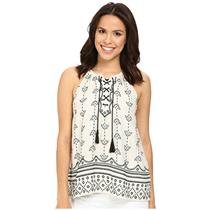 S NEW Joie Gough Women's Laced Front Embroidered Sleeveless Top in Natural/Black